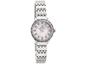 Bulova 96L180 Ladies Crystal Set Case Stainless Steel Bracelet Watch