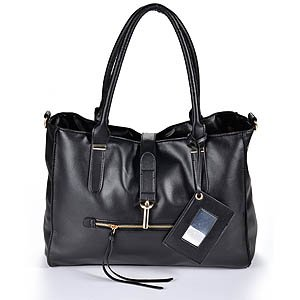 oversized 2way ladies Women soft faux leather Handbag Shoulder weekend Bag carry bag Zippered Tote Mirror card black