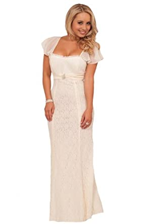 Short sleeve empire waist lace overlay full length wedding for Amazon cheap wedding dresses