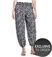 M&S Collection Smocked Waist Brushstroke Harem Trousers