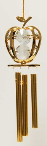 24K Gold Plated Wind Chime Sun Catcher Or Ornament..... Mini Apple With Clear Swarovski Austrian Crystal front-590282