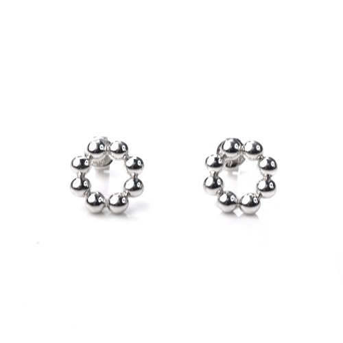 Platinum Plated 925 Sterling Silver Bead Stud Earrings (Diameter 0.43