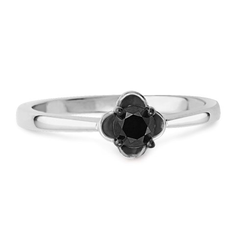 Platinum Plated Sterling Silver Black Round Diamond Solitaire Promise Ring (1/10 cttw)
