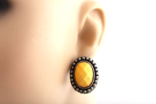 Ladies Silver with Yellow Multifaceted Oval Shaped Stone Clip On Earrings