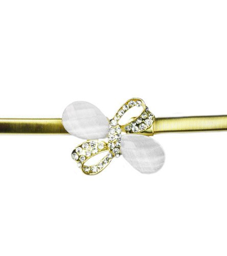 TdZ Metallic Skinny Coil Stretch Belt - Bow & White Stone Buckle (Gold) (Gold Coil Belt compare prices)