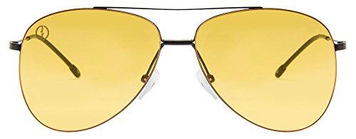 John Jacobs JJ 3317 Matte Black Yellow C18 Aviator Sunglasses (103072)