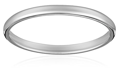 Women's Platinum Traditional Plain Wedding Band (2 mm), Size 5
