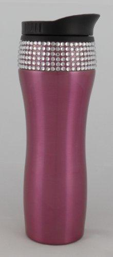 Pink Stainless Steel 14Oz Bling Rhinestone Travel Mug (Pink)