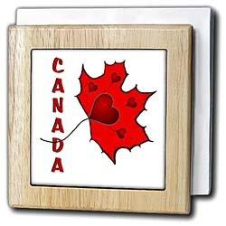 Canada - Maple Leaf - Hearts - 6 Inch Tile Napkin Holder