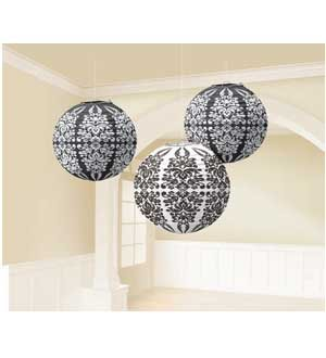 Printed Lantern Black- Damask 3 ct [2 Retail Unit(s) Pack] - 248154