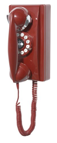 Crosley CR55-RE Wall Phone with Push Button Technology (Red)