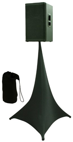 Amazin Gear Skrims Tripod Speaker Stand Stretch Cover, Triple Sided, Scrim 360, Black Spandex Dj Skirt With 3 Sides, Free Travel Bag, Made In Usa (Skrims-3B)