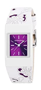 Kahuna Women's Quartz Watch with Purple Dial Analogue Display and White Plastic or PU Strap KLS-0258L
