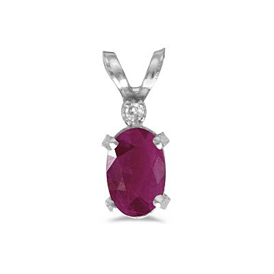 14k White Gold Oval Ruby And Diamond Filagree Pendant With 18 Inch Rope Chain