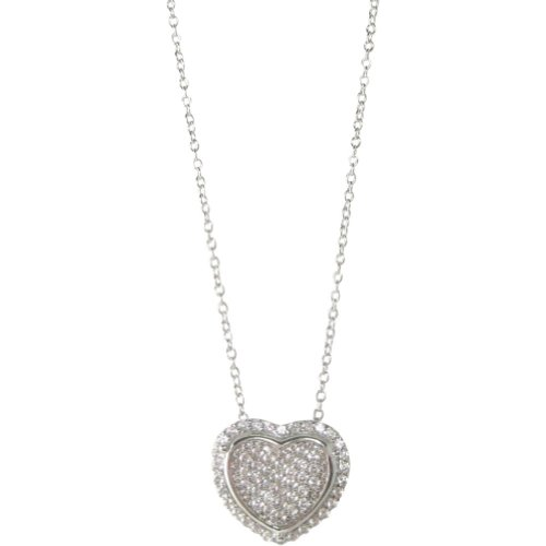 Bling by Wilkening Pave Heart Necklace (Silver)