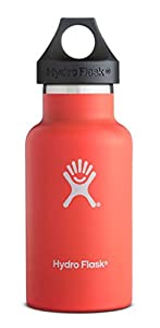 Hydro Flask 12 oz Vacuum Insulated Stainless Steel Water Bottle, Standard Mouth w/Loop Cap, Tangelo