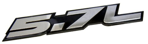 5.7L Liter In Silver On Black Highly Polished Aluminum Car Truck Engine Swap Nameplate Badge Logo Emblem For Toyota Tundra Sequoia V8 Chevy 350 Tahoe Suburban 1500 Camaro Impala Caprice Ss Corvette Z06 Ls1 Ls6 Dodge Challenger Charger Magnum Rt Hemi Ram D