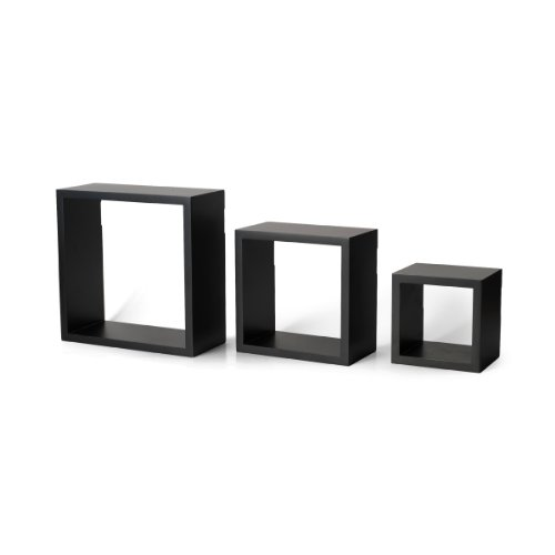 Melannco Wood Square Shelves, Set of 3, Black