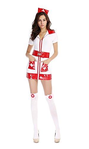 Bulacker Nurse Costumes Halloween Cosplay Dress Game Uniforms Temptation,white