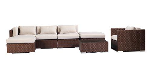 Outdoor Garden Furniture Patio Sofa Sectional Modify-Ittm Aloha Lanai 7-Pc Set, Espresso Wicker/Grey Cushions By Kardiel