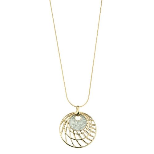 9ct Yellow Gold Cage/Disc Pendant and Necklace with 0.10ct Genuine Diamonds (Includes Snake Chain: 18