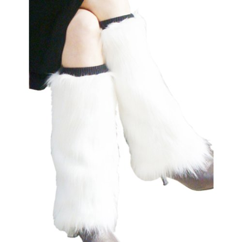 Faux Fur Boot Covers Sleeves Leg Warmers- White at Amazon.com