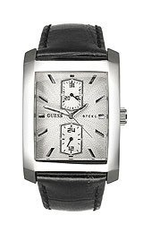 Guess Steel Multi Function Date Leather Watch - G90002G