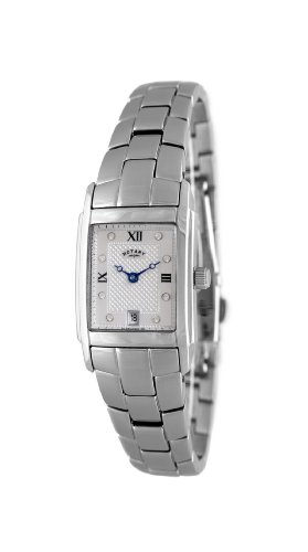 Rotary Ladies Analogue Watch LB42829/01 with Silver Roman Dial and Steel Bracelet