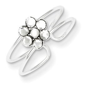 Genuine IceCarats Designer Jewelry Gift Sterling Silver Cz Flower Toe Ring Size 0.00