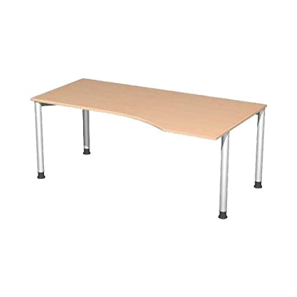 Stockholm PC Table 135 Degree Angle Left Base Adjustment Screws, Wood, Buche - Anthrazit, 1800x800-1000x720 mm