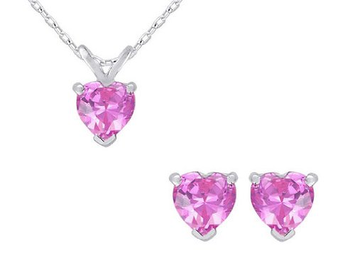 Pink Sapphire Heart Earrings and Pendant Set