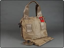 C-RED Beige & Gold Crocodile Shopper Tote Diaper Bag