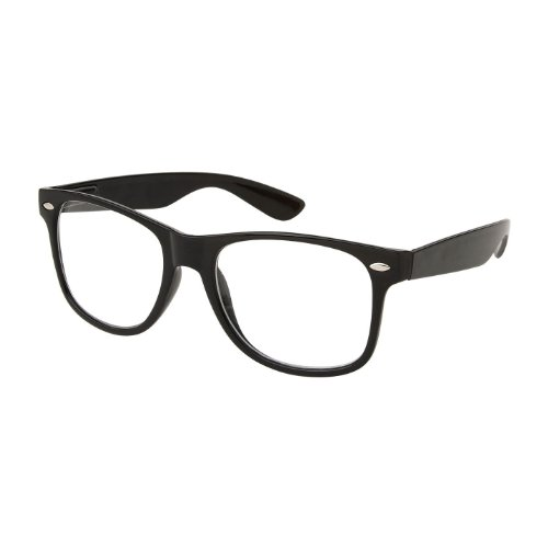 Retro Nerd Geek Oversized Black Framed Spring Temple Clear Lens
