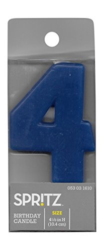 Spritz Molded #4 Birthday Candle (1 Count) (Blue) (Cow Wax Warmer compare prices)