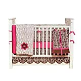 Bacati Damask Pink and Chocolate Baby Crib Set 10 Piece