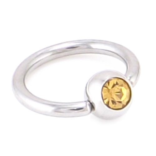 Amber Crystal Gem Captive Bead Ring 14 Gauge = 1.6 x 10mm Diameter