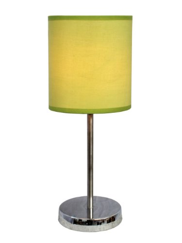 Simple Designs Lt2007-Grn Basic Table Lamp With Green Shade, Chrome