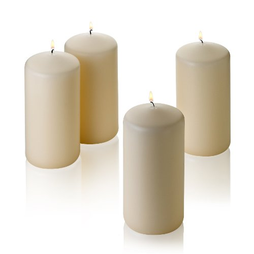 """Ivory Pillar Unscented Candles 6"""" Tall X 3"""" Wide Set of 4"""