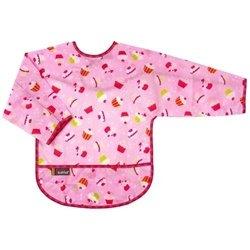 KushiesTaffeta Waterproof Bibs with Sleeves - Infant - Cupcakes Pink - 1