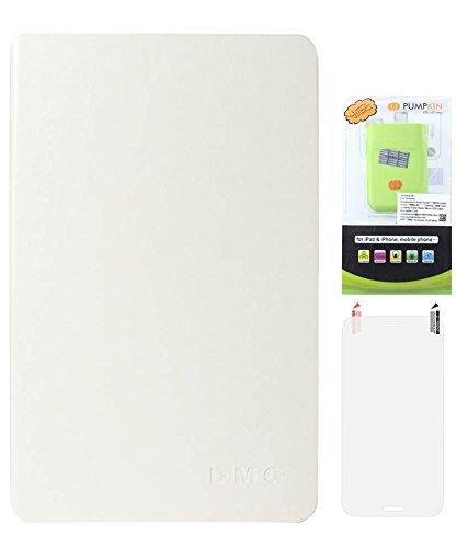 DMG Premium Leather Smart Folio Cover Case For Apple IPad Mini (White) + 6600 MAh PowerBank + Matte Screen
