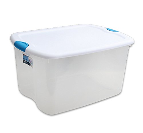 Sterilite 18888004, 66-Quart Latch Box, See through with White Lid and Blue Aquarium Latches