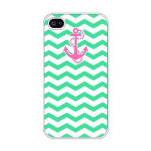 Chevron Pattern With Anchor RUBBER iphone 4 case
