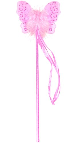 Dark Pink Marabou Nylon Butterfly Fairy Wand Girls Birthday Party Favor Costume