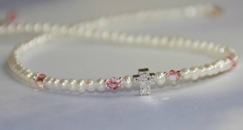Girls Necklace with Cross & Freshwater Pearls & Swarovski Crystals