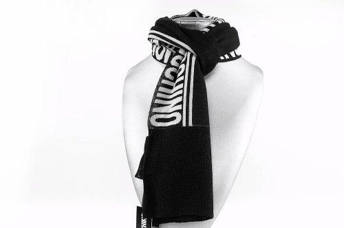Sciarpa regalo uomo firmata MOSCHINO bianco nero MADE IN ITALY lana sottile L112