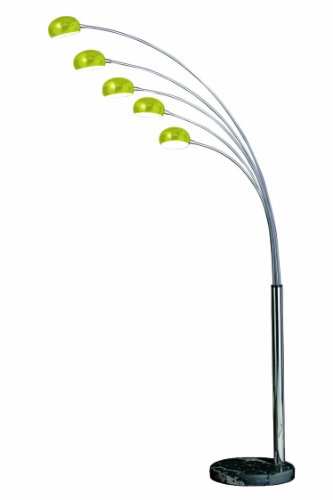 Premier Housewares Zeus Lime Green 5-Arm Floor Lamp with Glass Shades and Black Marble Base