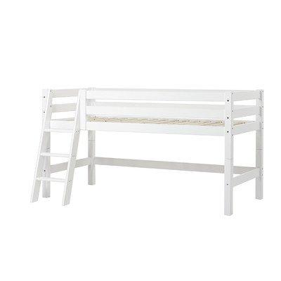 Halbhohes Bett XXL mit schräger Leiter, 70 x 160 cm Farbe: Weiß, Liegefläche: 90 x 200 cm, Lattenrost: Standard Rollrost