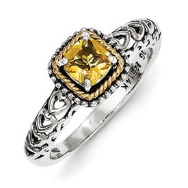 Genuine IceCarats Designer Jewelry Gift Sterling Silver W/14K Citrine Ring Size 7.00
