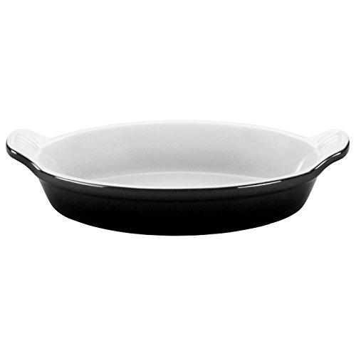 Le Creuset Heritage Stoneware 24-Ounce Oval Au Gratin Dish, Black