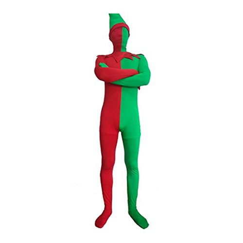 Full Body Red and Green Funny Lycra Spandex Zentai Christmas Elf Suit